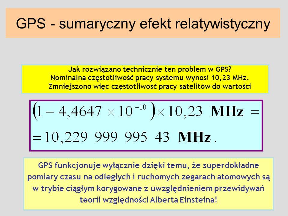 GPS - sumaryczny efekt relatywistyczny