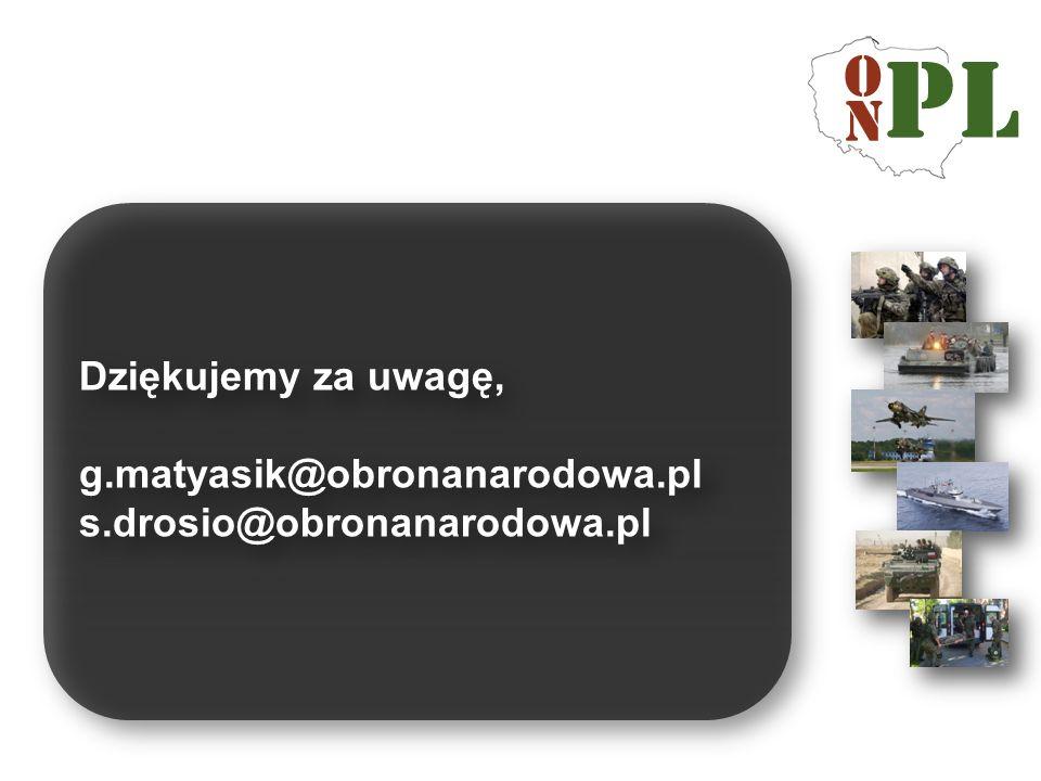 Dziękujemy za uwagę, g.matyasik@obronanarodowa.pl s.drosio@obronanarodowa.pl
