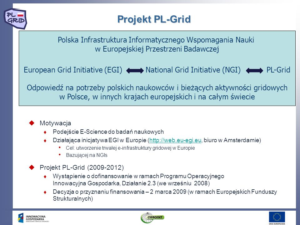 European Grid Initiative (EGI) National Grid Initiative (NGI) PL-Grid