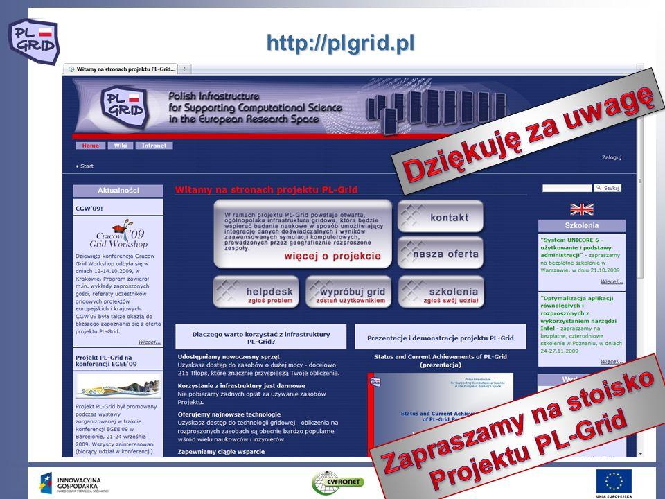 Dziękuję za uwagę Zapraszamy na stoisko Projektu PL-Grid