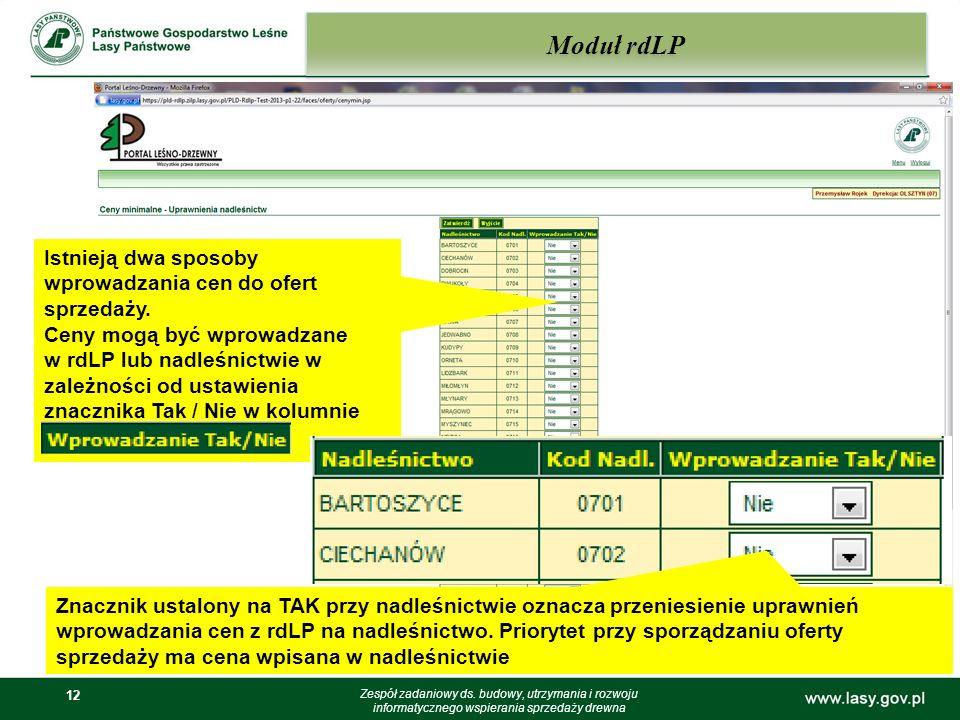 Moduł rdLP Istnieją dwa sposoby wprowadzania cen do ofert sprzedaży.