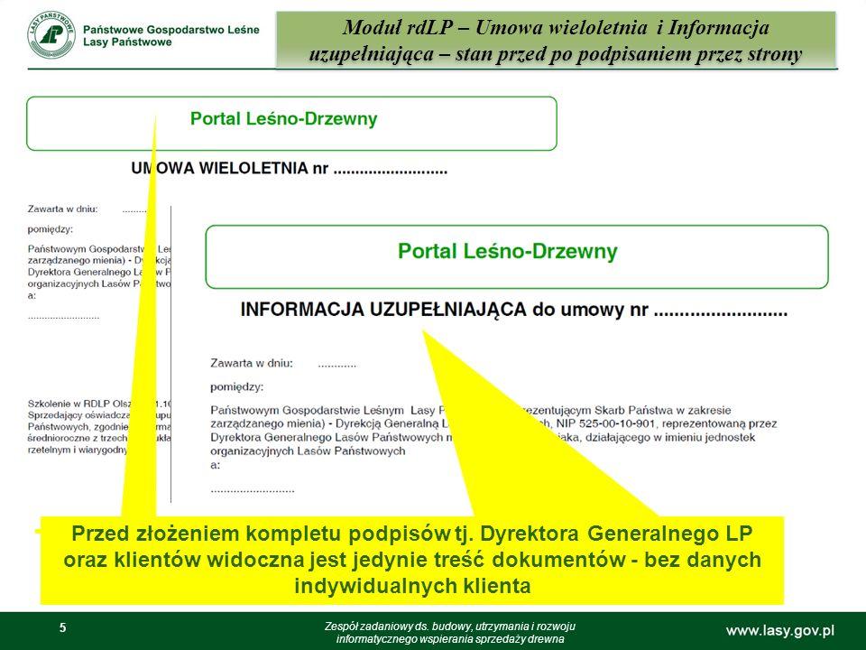 Moduł rdLP – Umowa wieloletnia i Informacja uzupełniająca – stan przed po podpisaniem przez strony