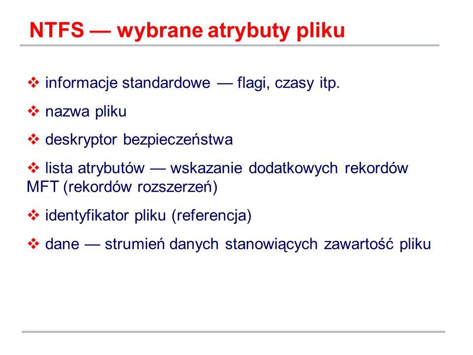 NTFS — wybrane atrybuty pliku