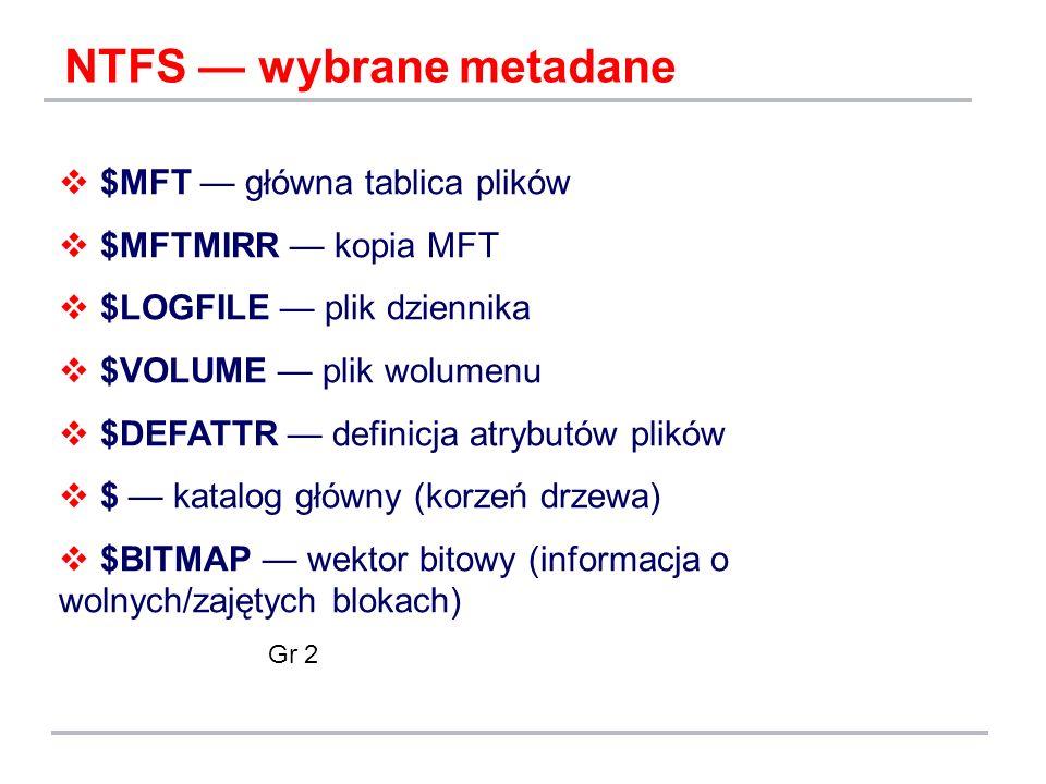NTFS — wybrane metadane