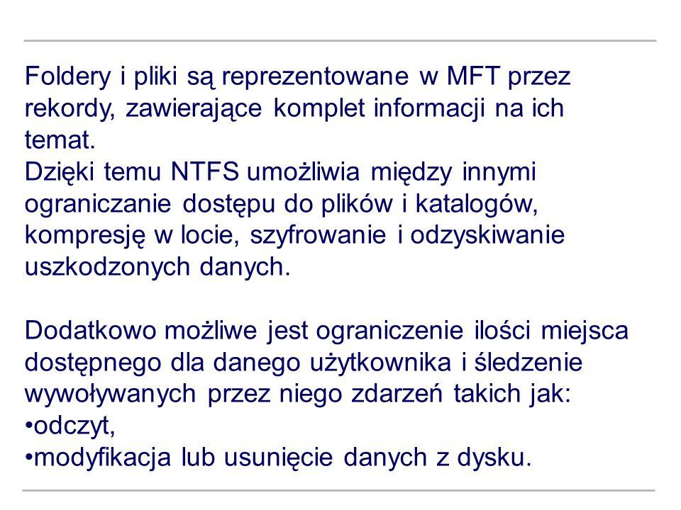 Foldery i pliki są reprezentowane w MFT przez rekordy, zawierające komplet informacji na ich temat.