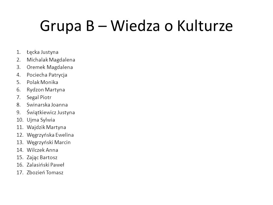 Grupa B – Wiedza o Kulturze