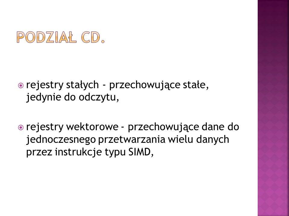 Podział cd. rejestry stałych - przechowujące stałe, jedynie do odczytu,