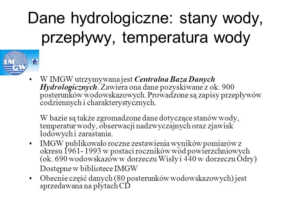 Dane hydrologiczne: stany wody, przepływy, temperatura wody