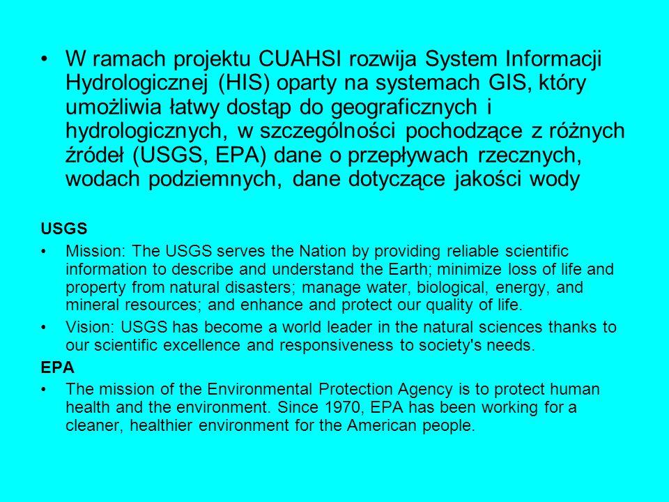 W ramach projektu CUAHSI rozwija System Informacji Hydrologicznej (HIS) oparty na systemach GIS, który umożliwia łatwy dostąp do geograficznych i hydrologicznych, w szczególności pochodzące z różnych źródeł (USGS, EPA) dane o przepływach rzecznych, wodach podziemnych, dane dotyczące jakości wody