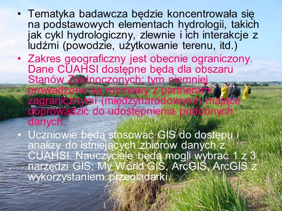 Tematyka badawcza będzie koncentrowała się na podstawowych elementach hydrologii, takich jak cykl hydrologiczny, zlewnie i ich interakcje z ludźmi (powodzie, użytkowanie terenu, itd.)