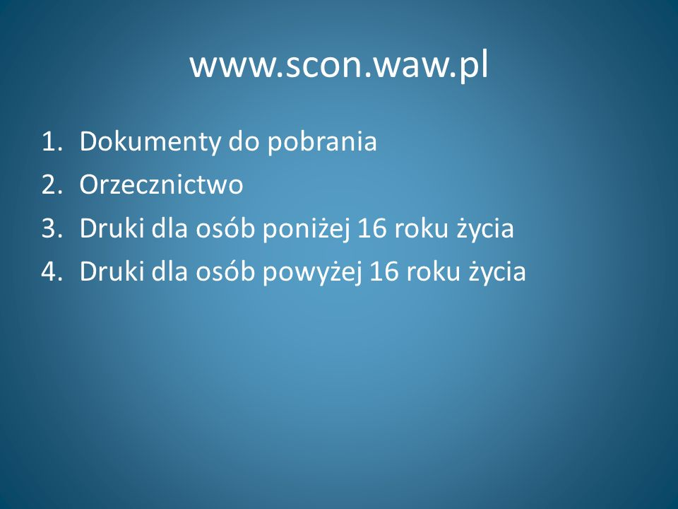 www.scon.waw.pl Dokumenty do pobrania Orzecznictwo