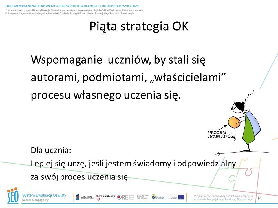 Piąta strategia OK Wspomaganie uczniów, by stali się