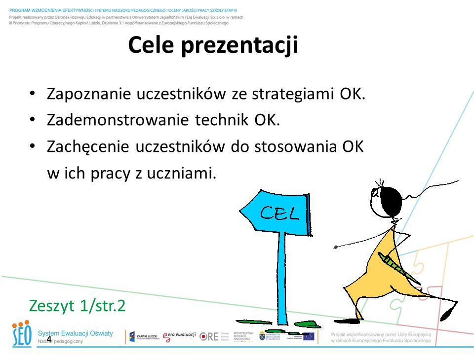 Cele prezentacji Zapoznanie uczestników ze strategiami OK.