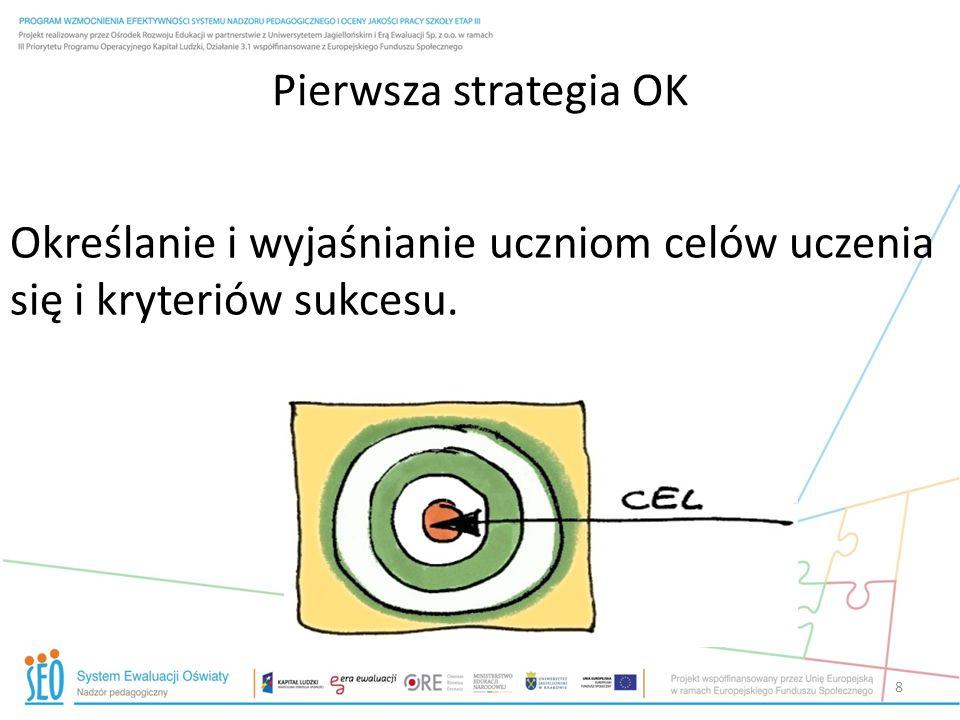 Pierwsza strategia OK Określanie i wyjaśnianie uczniom celów uczenia się i kryteriów sukcesu.