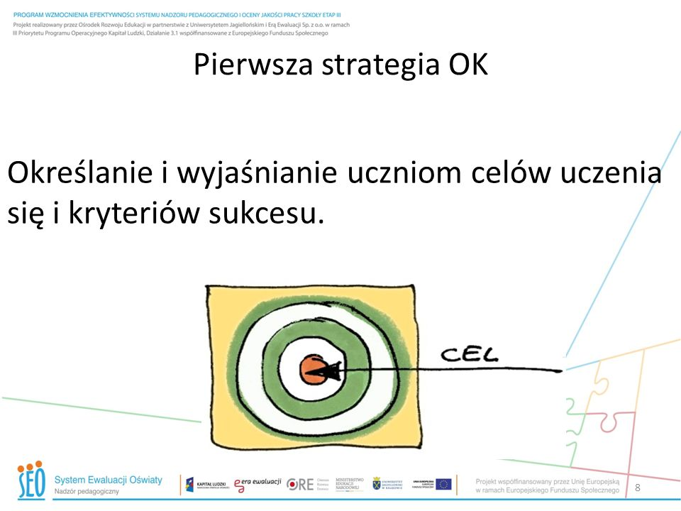 Pierwsza strategia OKOkreślanie i wyjaśnianie uczniom celów uczenia się i kryteriów sukcesu.