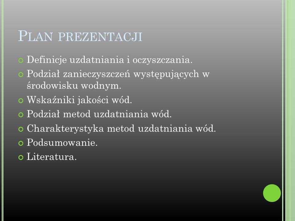 Plan prezentacji Definicje uzdatniania i oczyszczania.