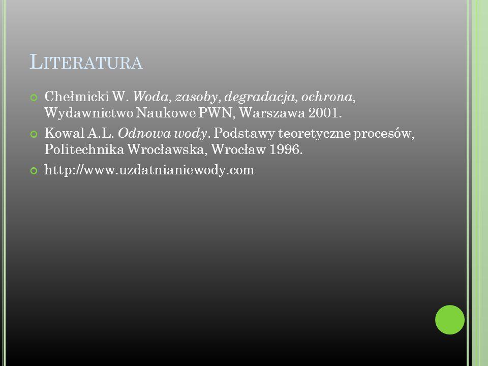 Literatura Chełmicki W. Woda, zasoby, degradacja, ochrona, Wydawnictwo Naukowe PWN, Warszawa 2001.