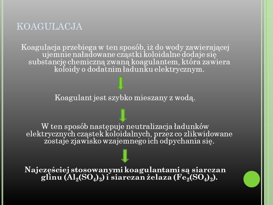 Koagulant jest szybko mieszany z wodą.