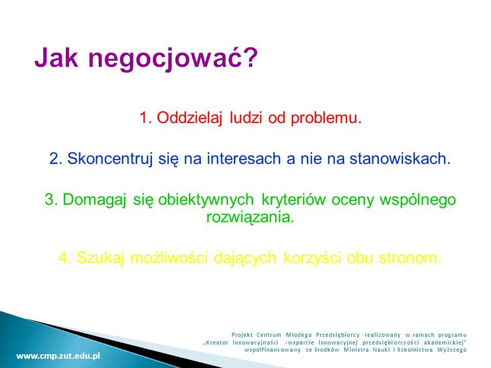 Jak negocjować 1. Oddzielaj ludzi od problemu.