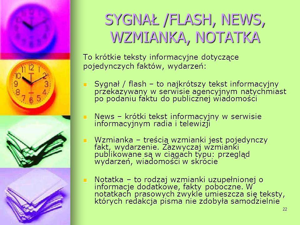 SYGNAŁ /FLASH, NEWS, WZMIANKA, NOTATKA