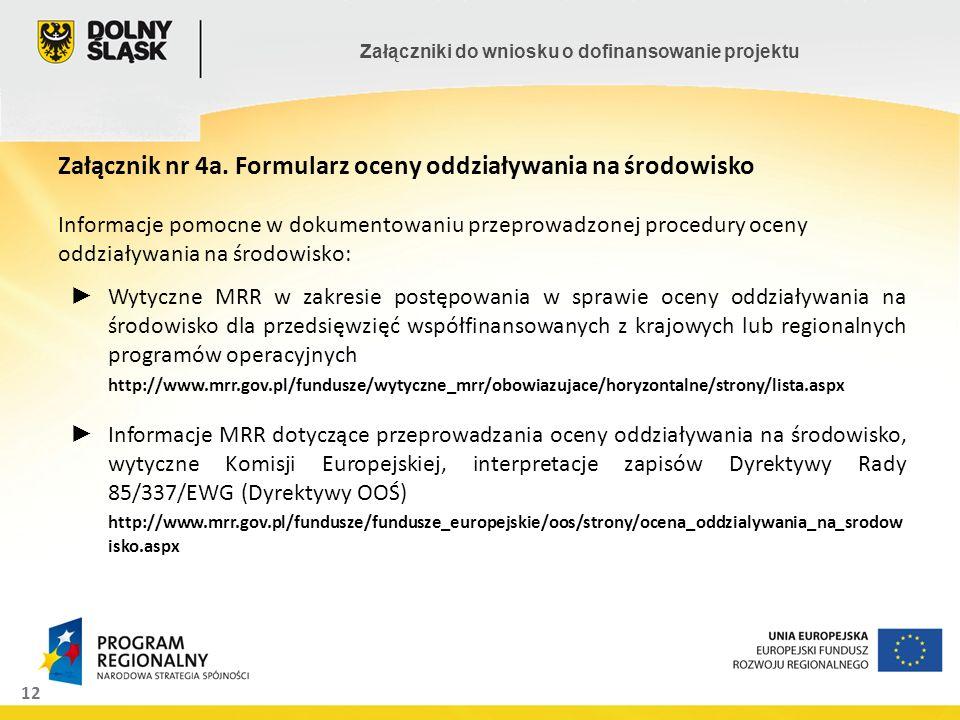 Załącznik nr 4a. Formularz oceny oddziaływania na środowisko Informacje pomocne w dokumentowaniu przeprowadzonej procedury oceny oddziaływania na środowisko: