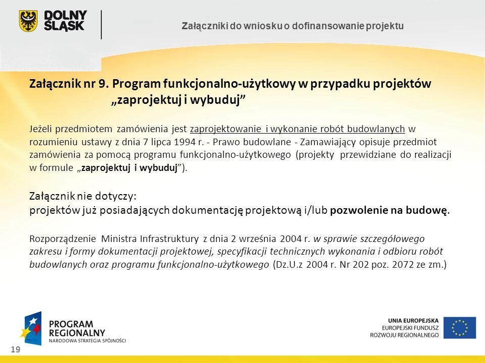 Załącznik nr 9. Program funkcjonalno-użytkowy w przypadku projektów