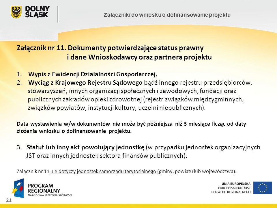Załącznik nr 11. Dokumenty potwierdzające status prawny