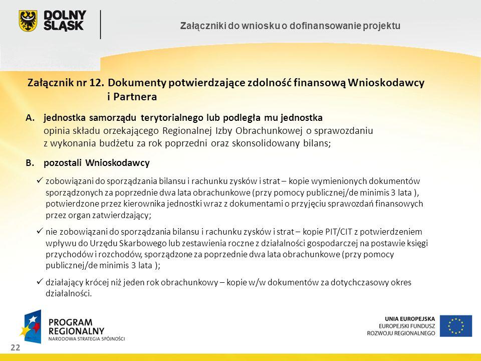 Załącznik nr 12. Dokumenty potwierdzające zdolność finansową Wnioskodawcy i Partnera