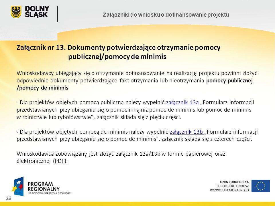 Załącznik nr 13. Dokumenty potwierdzające otrzymanie pomocy