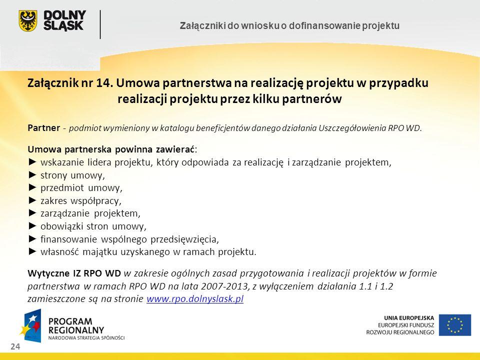 Załącznik nr 14. Umowa partnerstwa na realizację projektu w przypadku