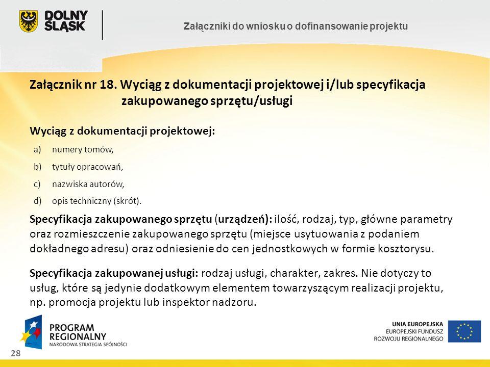 Załącznik nr 18. Wyciąg z dokumentacji projektowej i/lub specyfikacja
