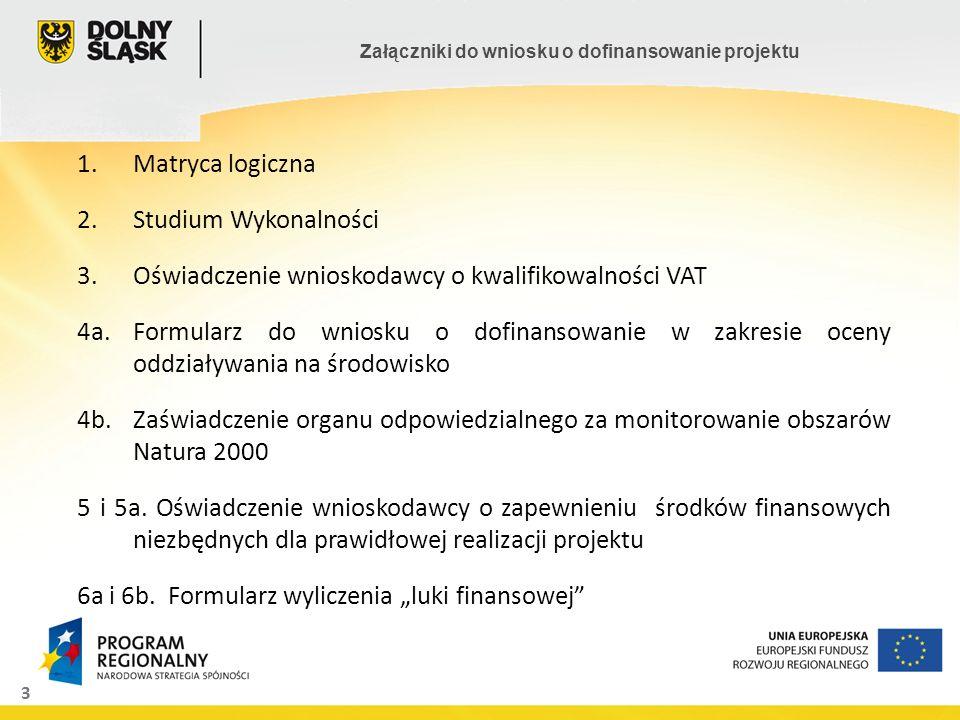 Matryca logiczna Studium Wykonalności. Oświadczenie wnioskodawcy o kwalifikowalności VAT.