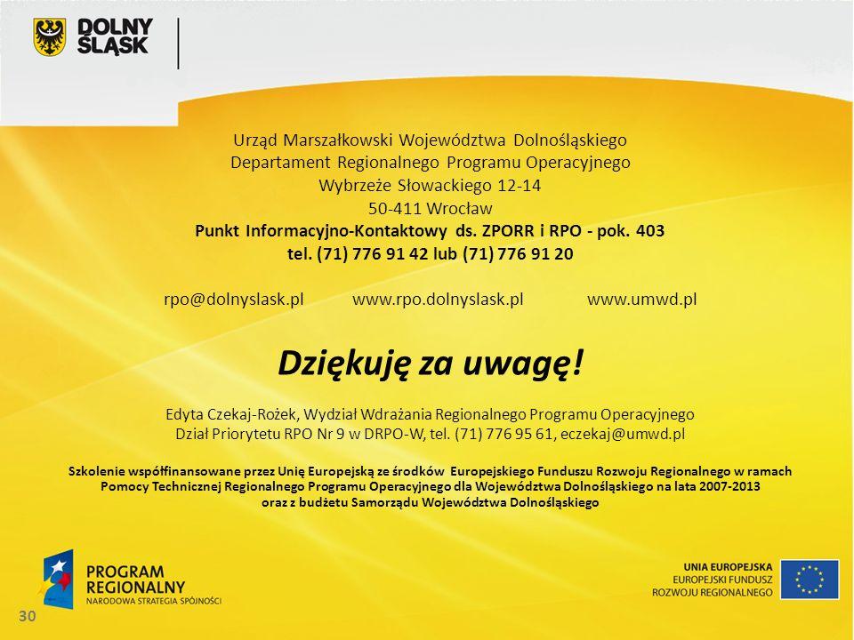 Punkt Informacyjno-Kontaktowy ds. ZPORR i RPO - pok. 403