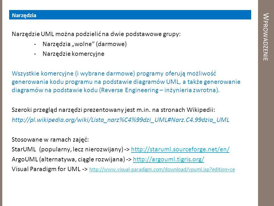 Wprowadzenie Narzędzie UML można podzielić na dwie podstawowe grupy: