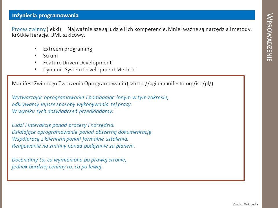 Wprowadzenie Inżynieria programowania