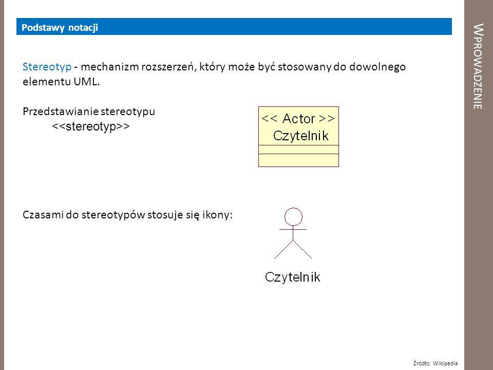 Podstawy notacji Wprowadzenie. Stereotyp - mechanizm rozszerzeń, który może być stosowany do dowolnego elementu UML.