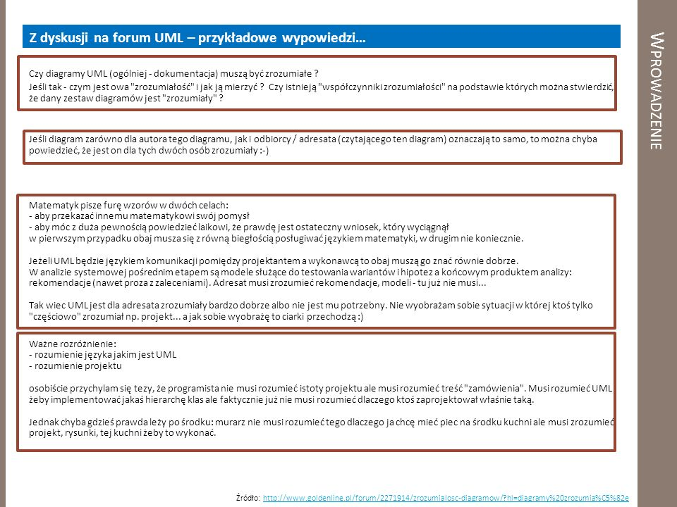 Wprowadzenie Z dyskusji na forum UML – przykładowe wypowiedzi…