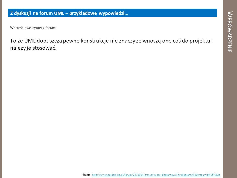 Z dyskusji na forum UML – przykładowe wypowiedzi…
