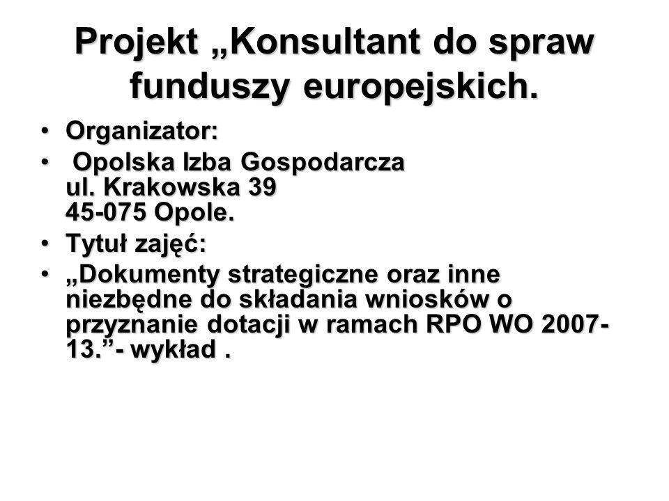 """Projekt """"Konsultant do spraw funduszy europejskich."""