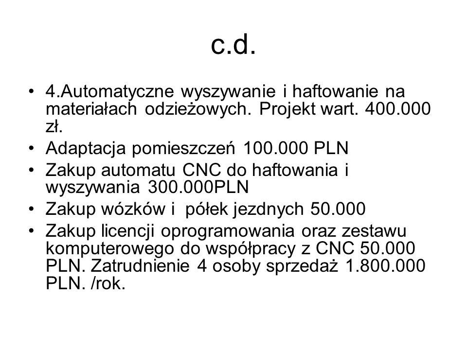 c.d. 4.Automatyczne wyszywanie i haftowanie na materiałach odzieżowych. Projekt wart. 400.000 zł. Adaptacja pomieszczeń 100.000 PLN.