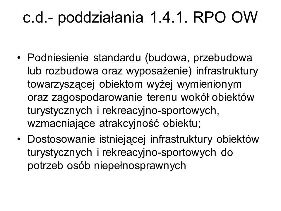c.d.- poddziałania 1.4.1. RPO OW