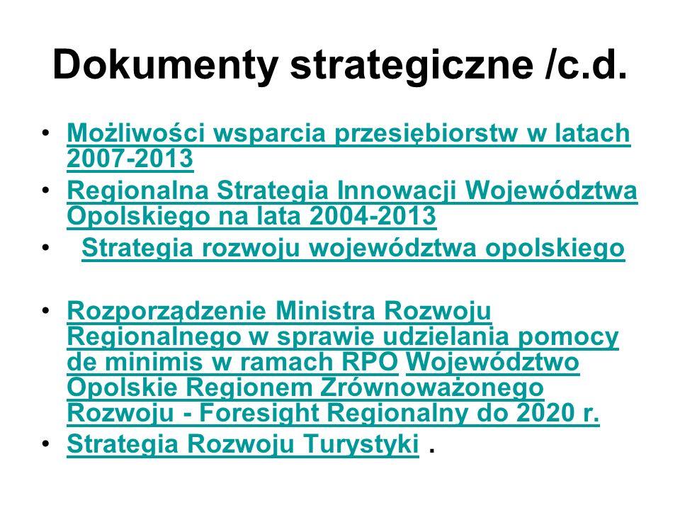 Dokumenty strategiczne /c.d.