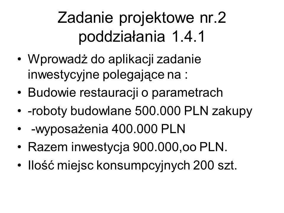 Zadanie projektowe nr.2 poddziałania 1.4.1