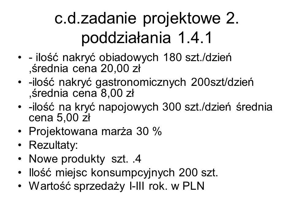 c.d.zadanie projektowe 2. poddziałania 1.4.1