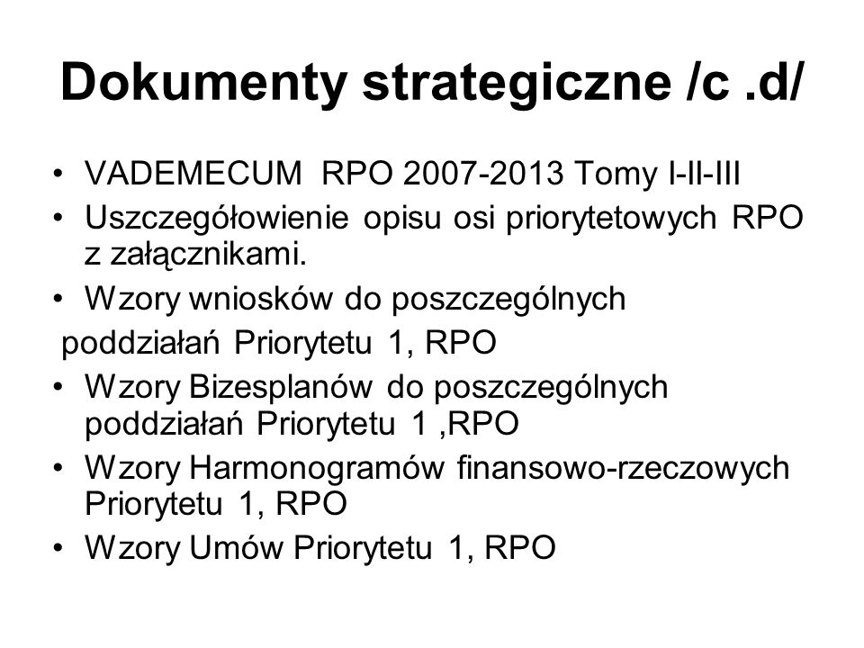Dokumenty strategiczne /c .d/