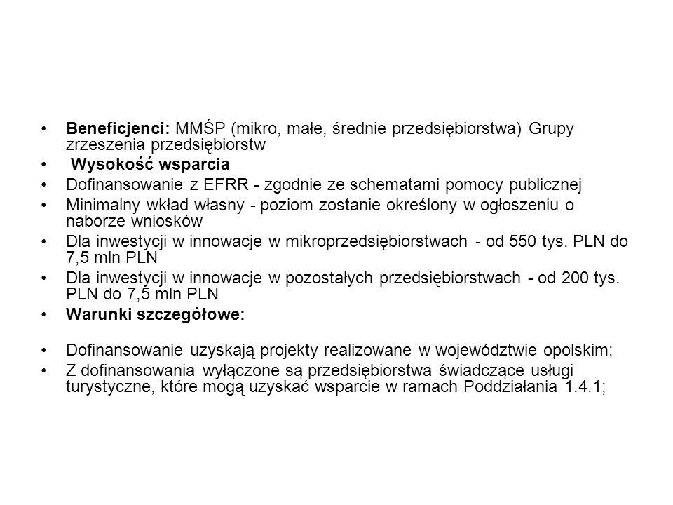 Beneficjenci: MMŚP (mikro, małe, średnie przedsiębiorstwa) Grupy zrzeszenia przedsiębiorstw