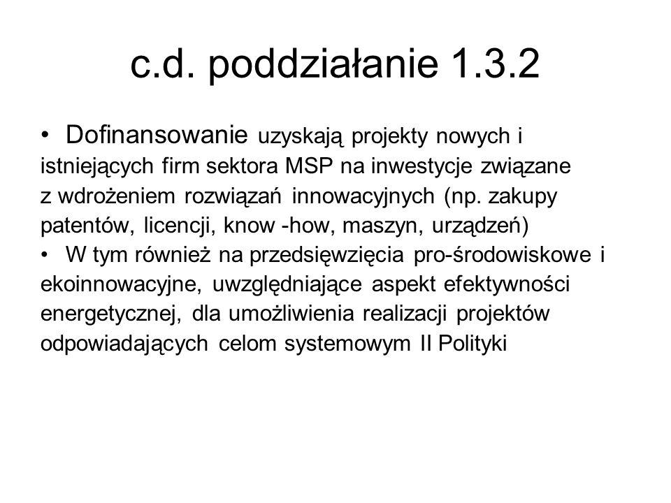 c.d. poddziałanie 1.3.2 Dofinansowanie uzyskają projekty nowych i