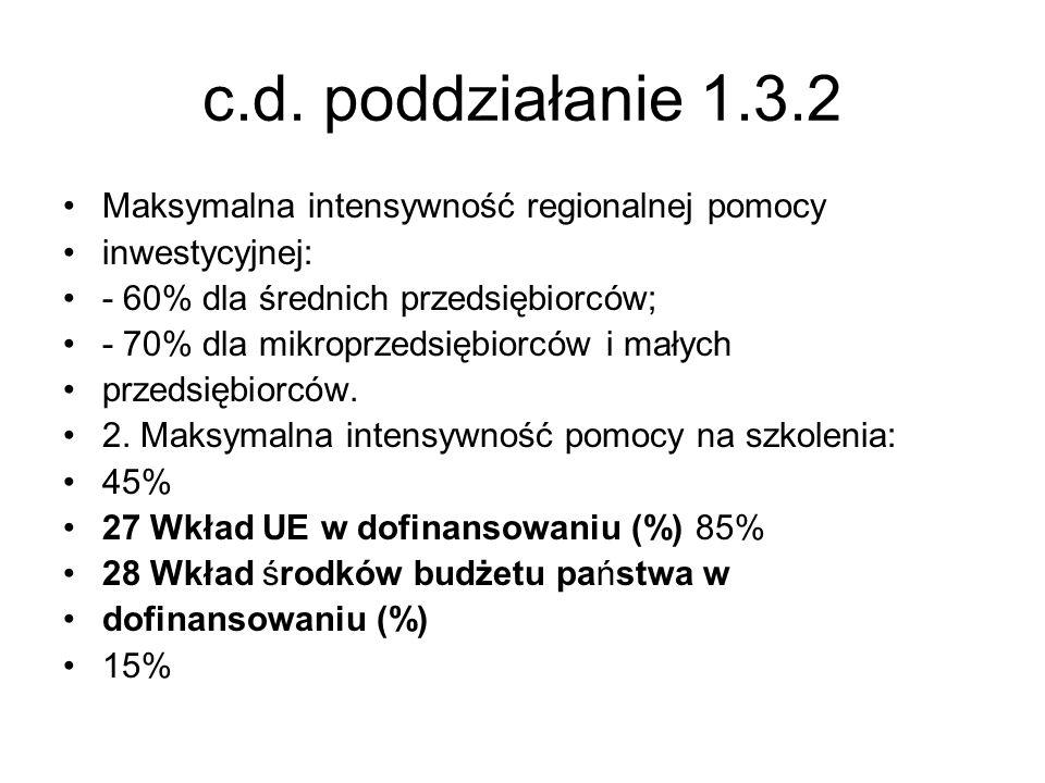 c.d. poddziałanie 1.3.2 Maksymalna intensywność regionalnej pomocy