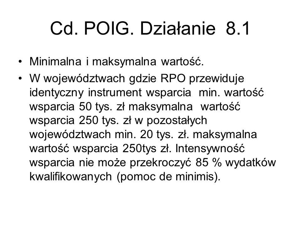 Cd. POIG. Działanie 8.1 Minimalna i maksymalna wartość.