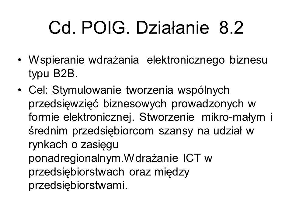 Cd. POIG. Działanie 8.2 Wspieranie wdrażania elektronicznego biznesu typu B2B.